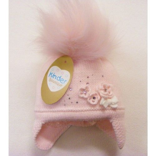 New Arrival Gorgeous Baby Girl Big Fur Pom Hat Flower Knit Dimantes